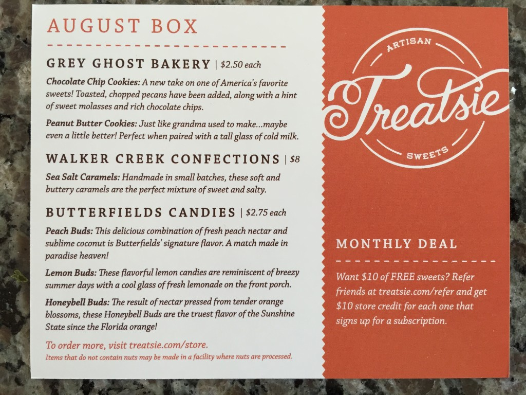 treatsie august 2015 info card