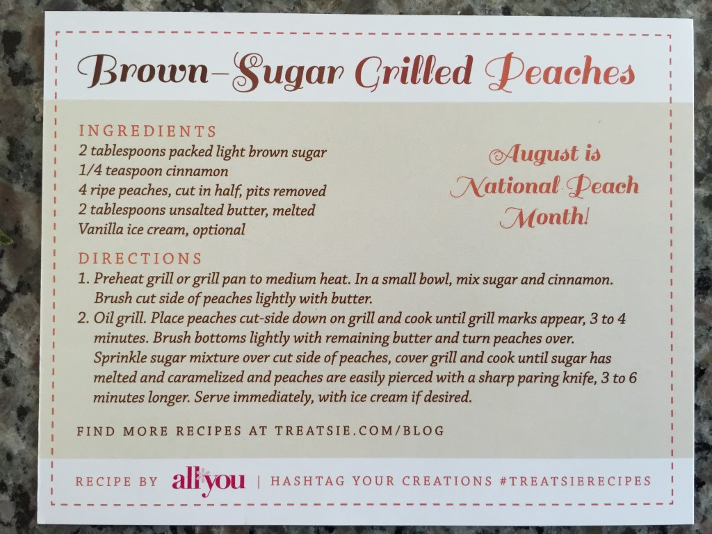 treatsie brown sugar grilled peaches recipe card