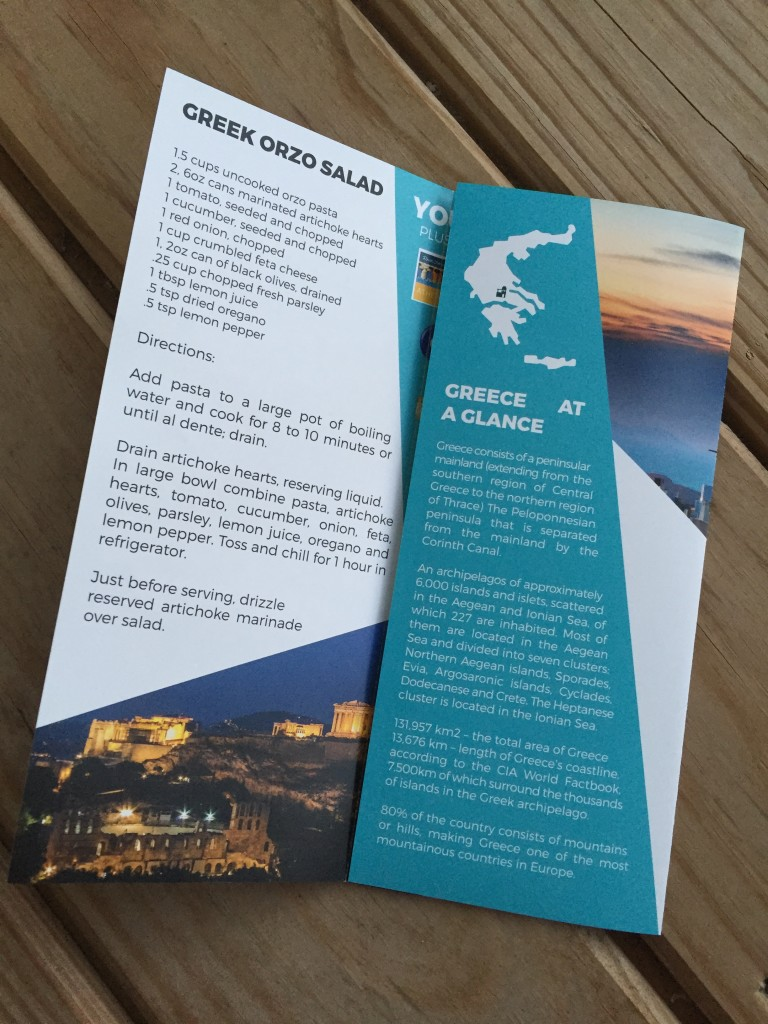 escape monthly september greece box info card opened with fact sheet showing