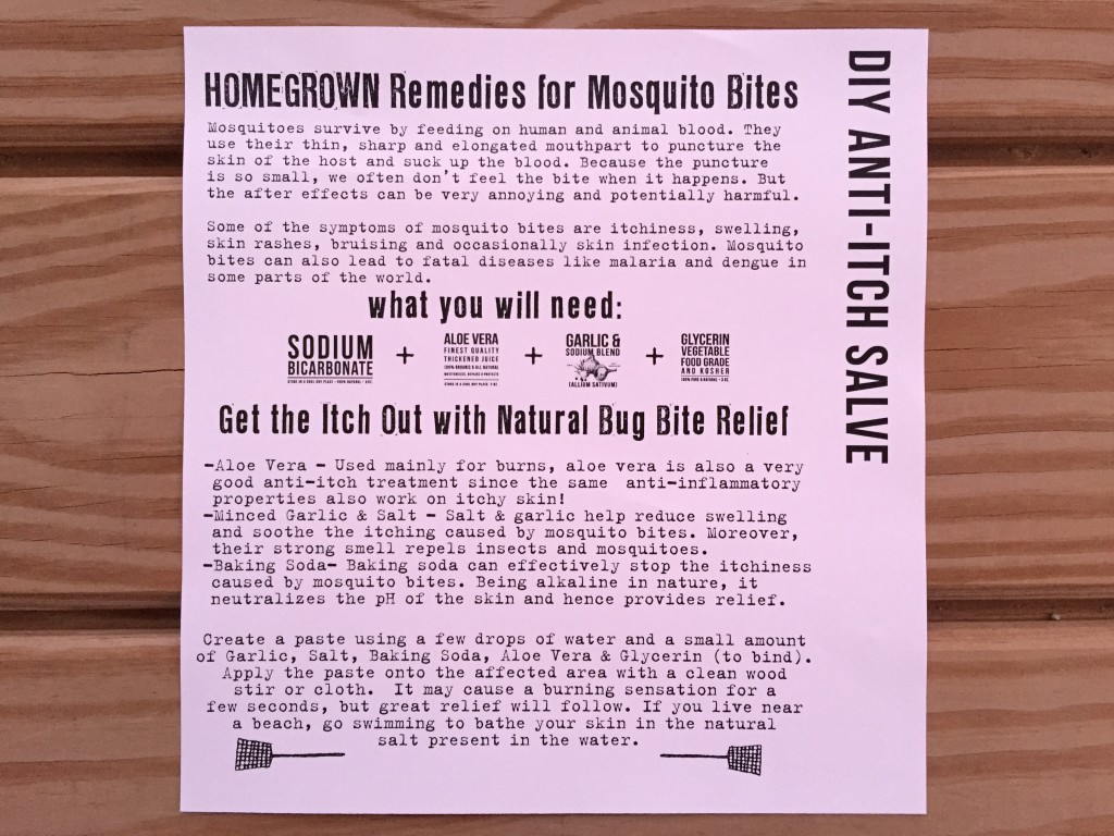 the homegrown collective august 2015 project diy anti-itch salve info card
