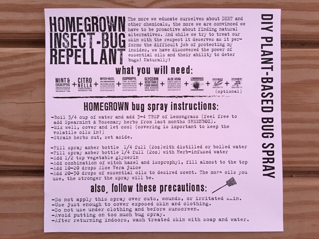 the homegrown collective august 2015 project diy plant-based bug spray info card