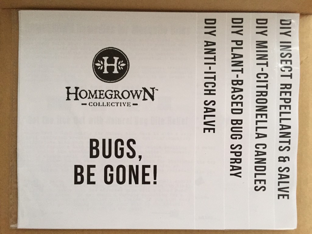 inside of bugs, be gone! homegrown collective 2015 box with the info sheets on the inner lid