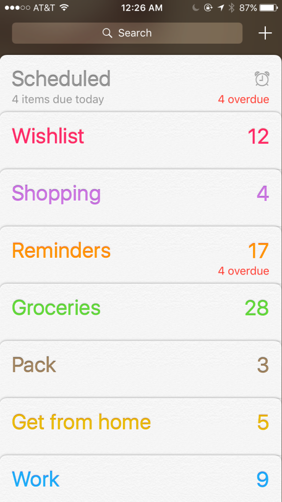 ios 9 reminders with number of reminders and overdue items shown