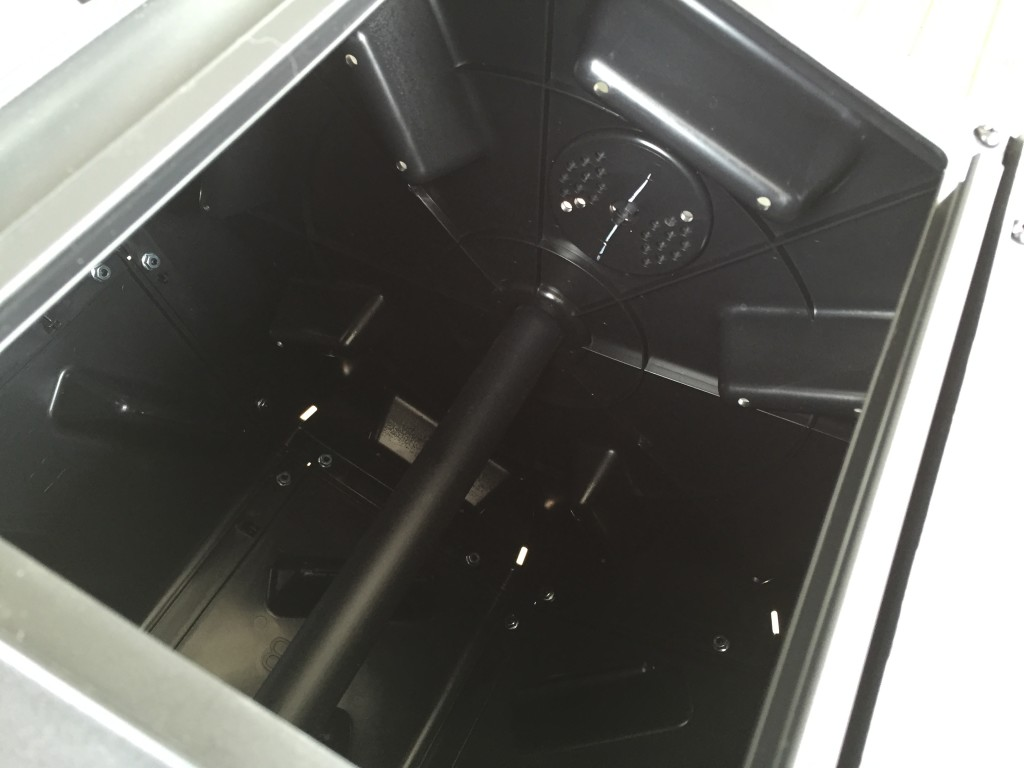 inside compartment of tumbling composter