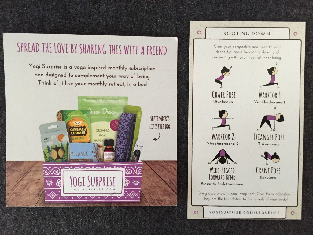 yogi surprise september 2015 back of promo card and yoga sequence card