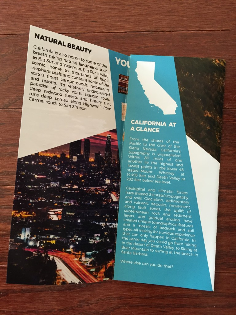 escape monthly october california box info card opened with fact sheet showing