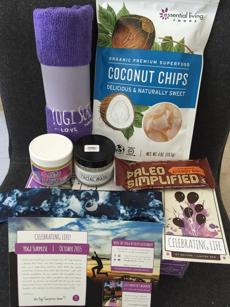 contents of yogi surprise october 2015 box with info card