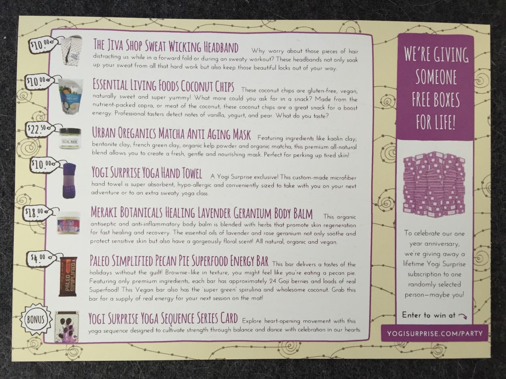 yogi surprise october 2015 info card with product details