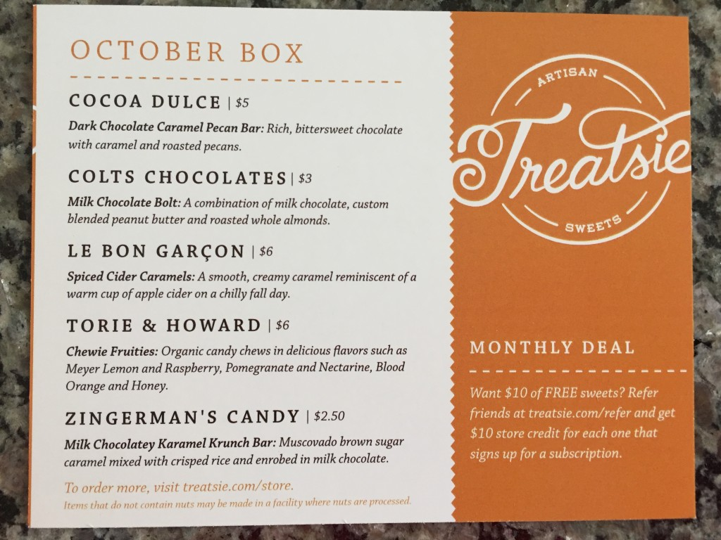 treatsie october 2015 info card