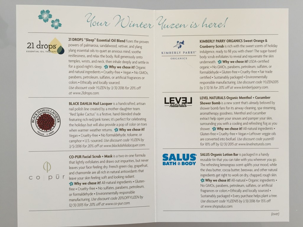 yuzen november-january 2015 winter box info card inside listing brands in box