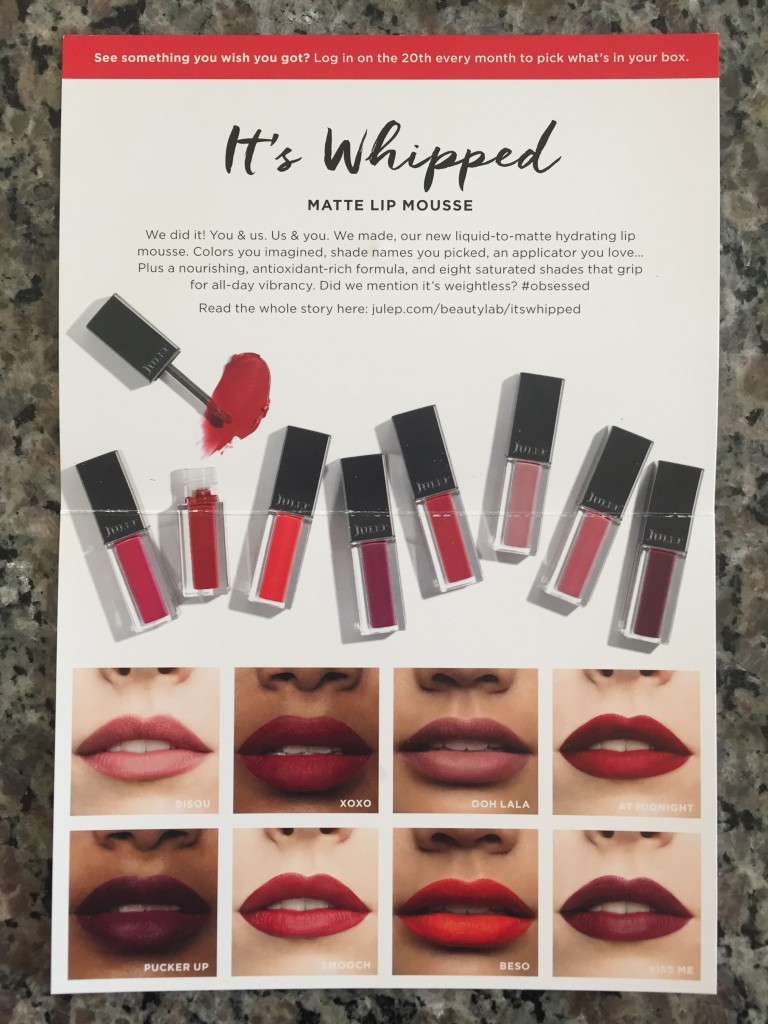 julep it's whipped matte lip mousse information card