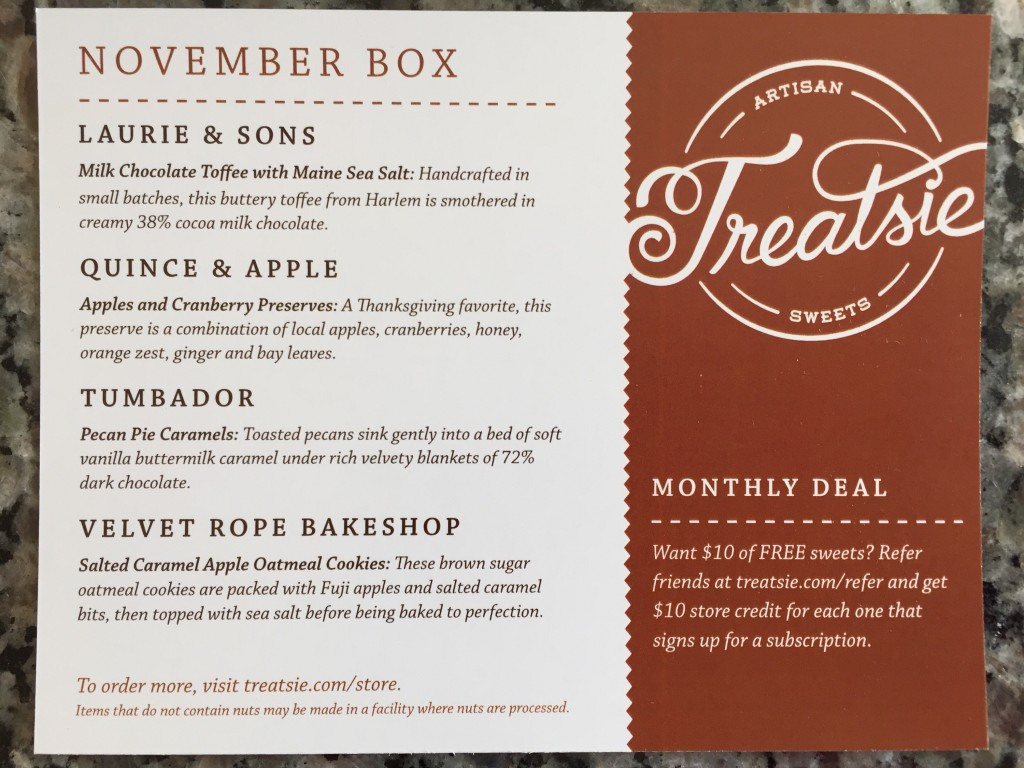 treatsie november 2015 info card