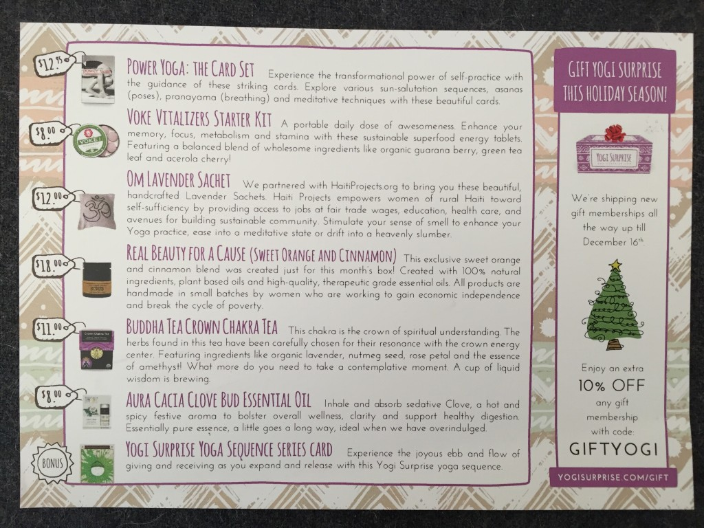 yogi surprise december 2015 info card with product details