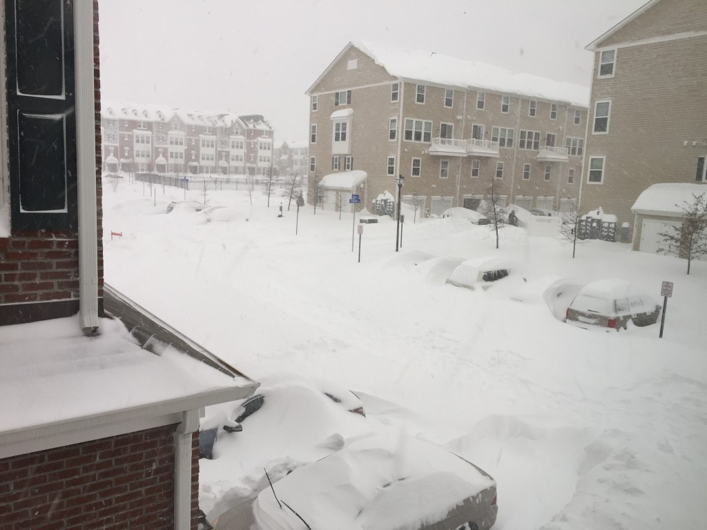 snow level on cars twenty-seven hours into blizzard 2016