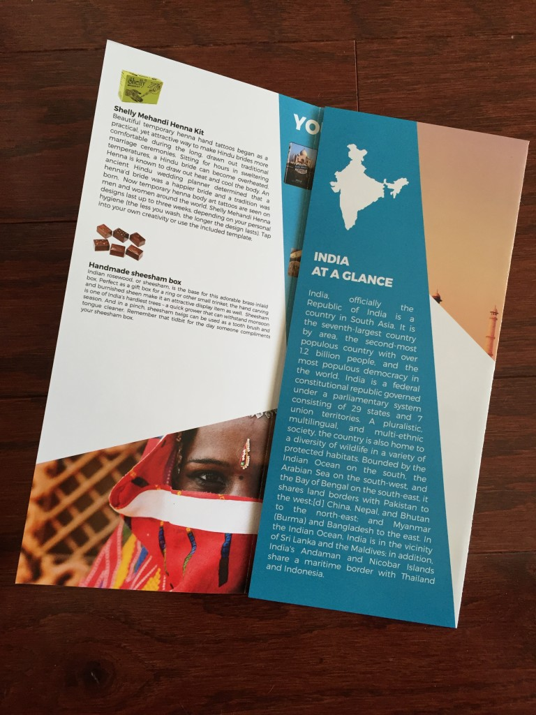 escape monthly january india box info card opened with fact sheet showing