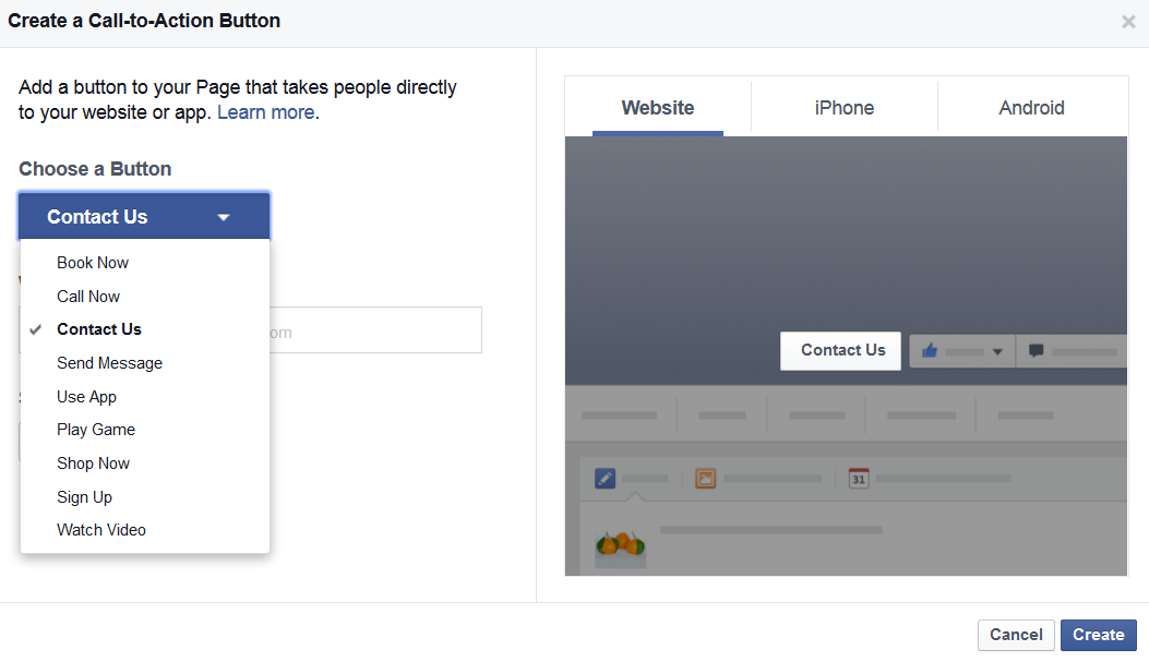 dropdown menu to set facebook page call to action button