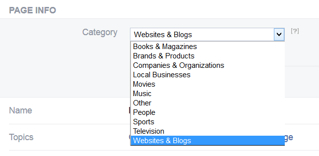 dropdown menu to edit facebook page category