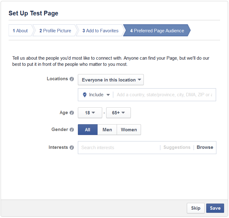 area to set up target audience of new facebook page