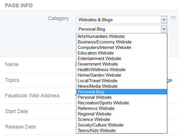 dropdown menu to edit facebook page subcategory