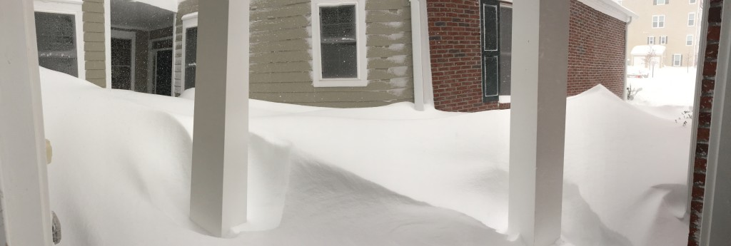 snow drifts by front door from blizzard 2016