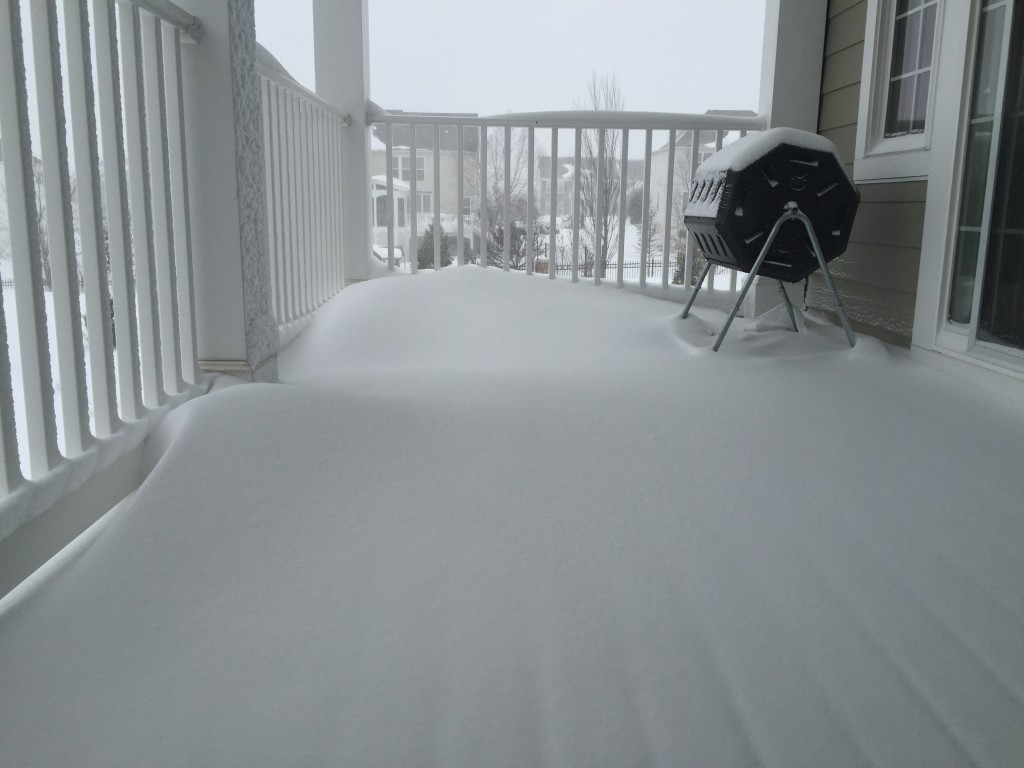 snow gathering on porch during blizzard 2016