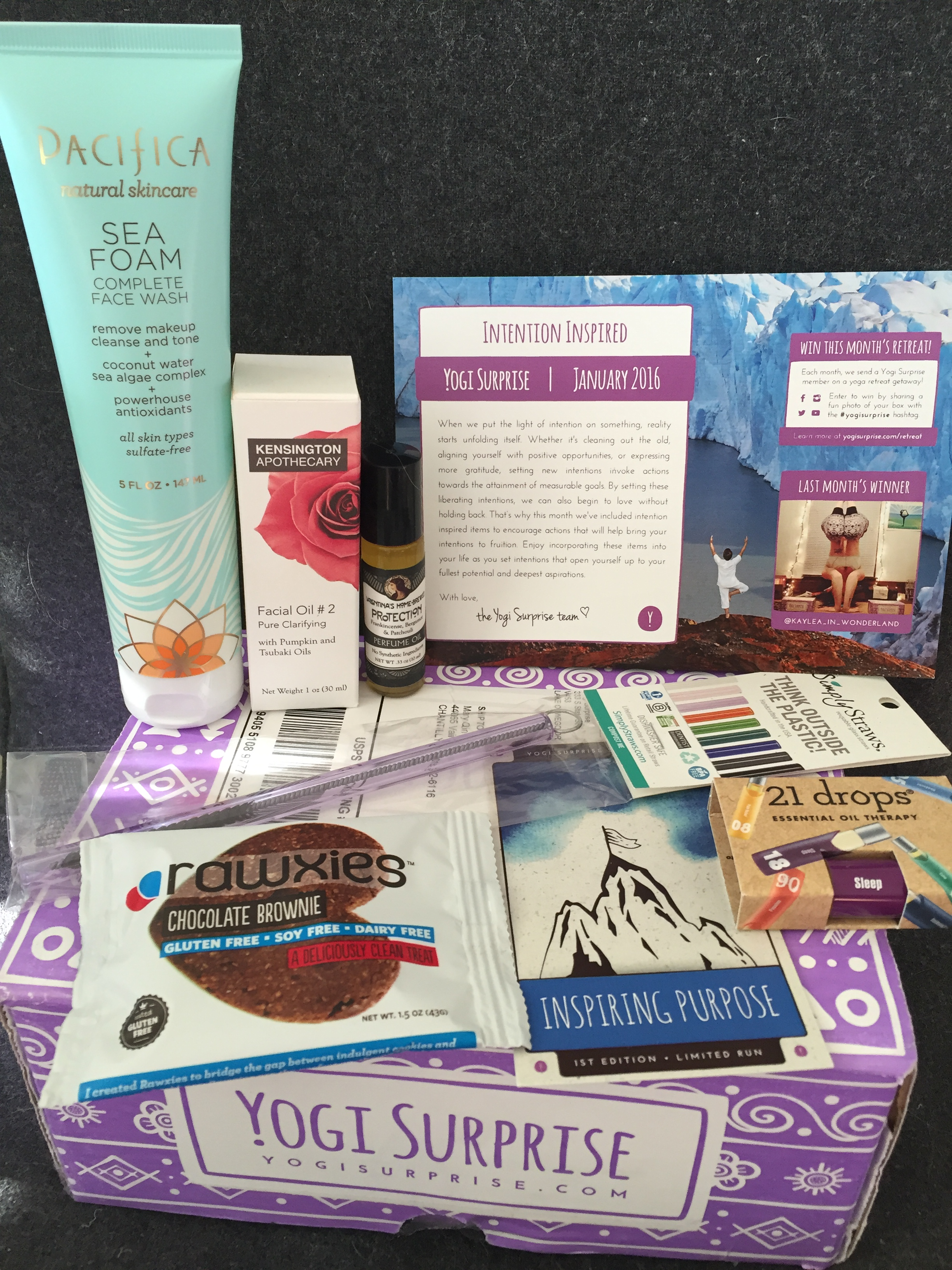contents of yogi surprise january 2016 box with info card