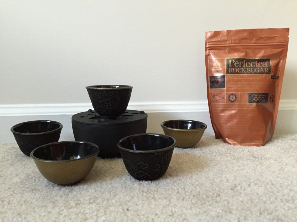 teavana tea cups, warmer, and rock sugar