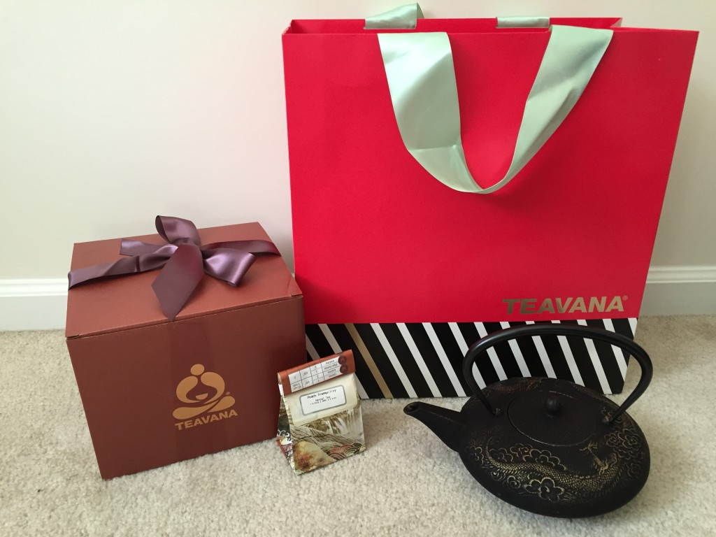 teavana gift bag with gift box, teapot, and tea