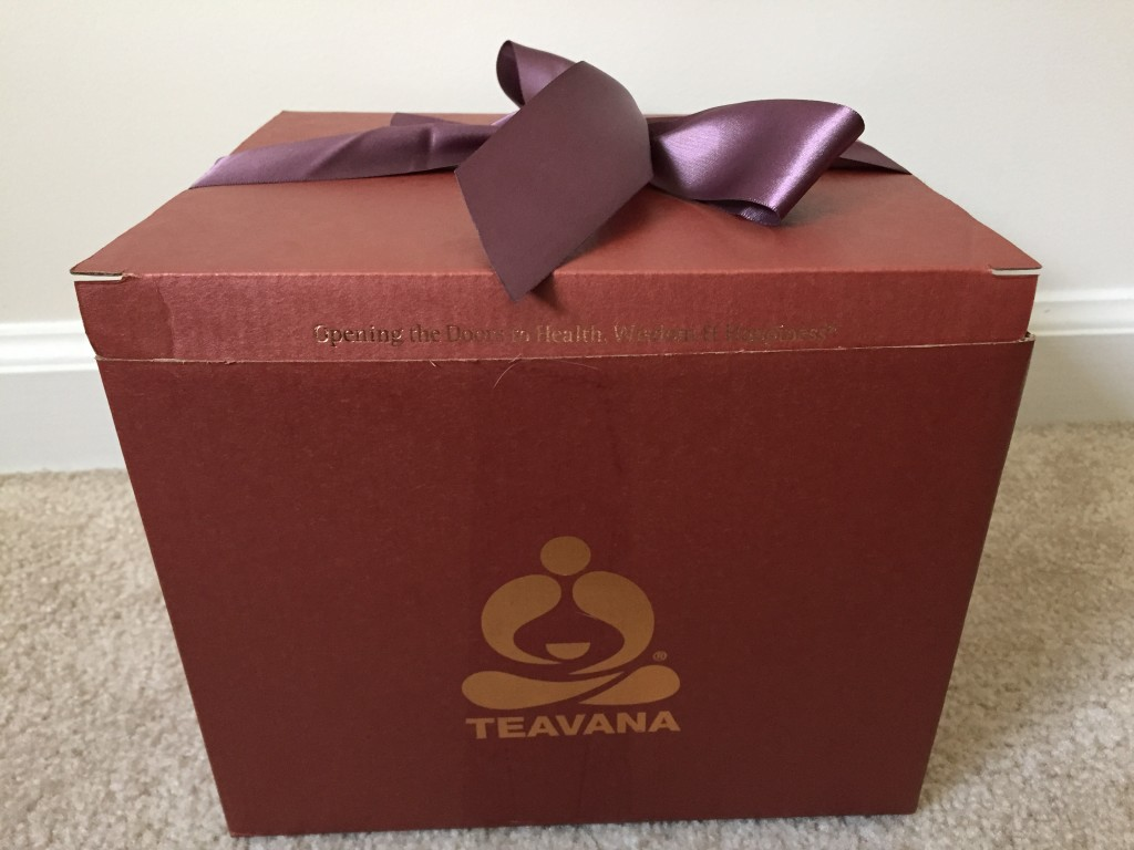 teavana gift box with ribbon and message