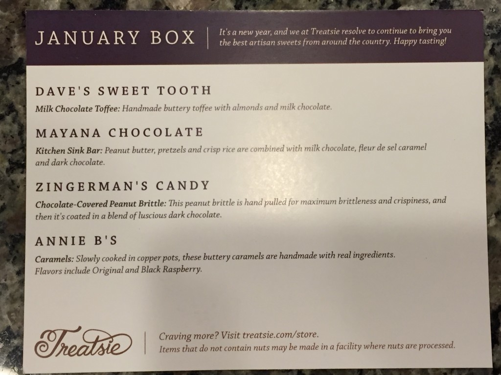 treatsie january 2016 info card