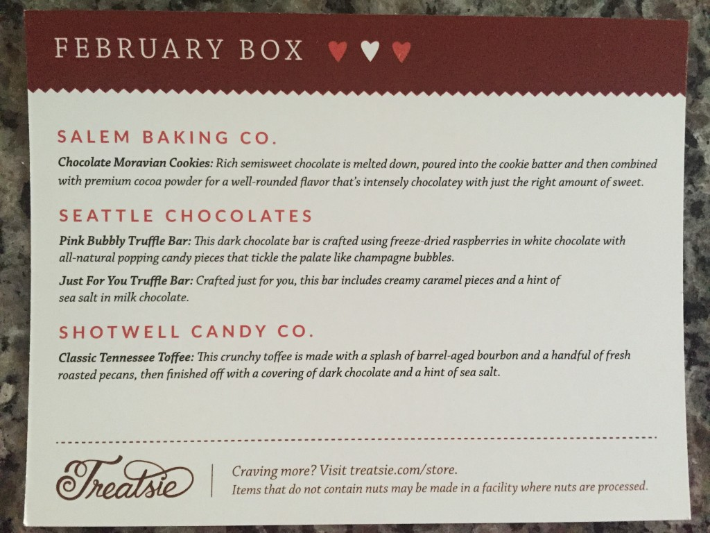 treatsie february 2016 info card