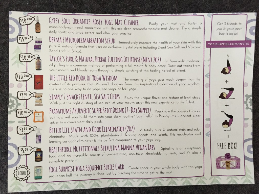 yogi surprise march 2016 info card with product details