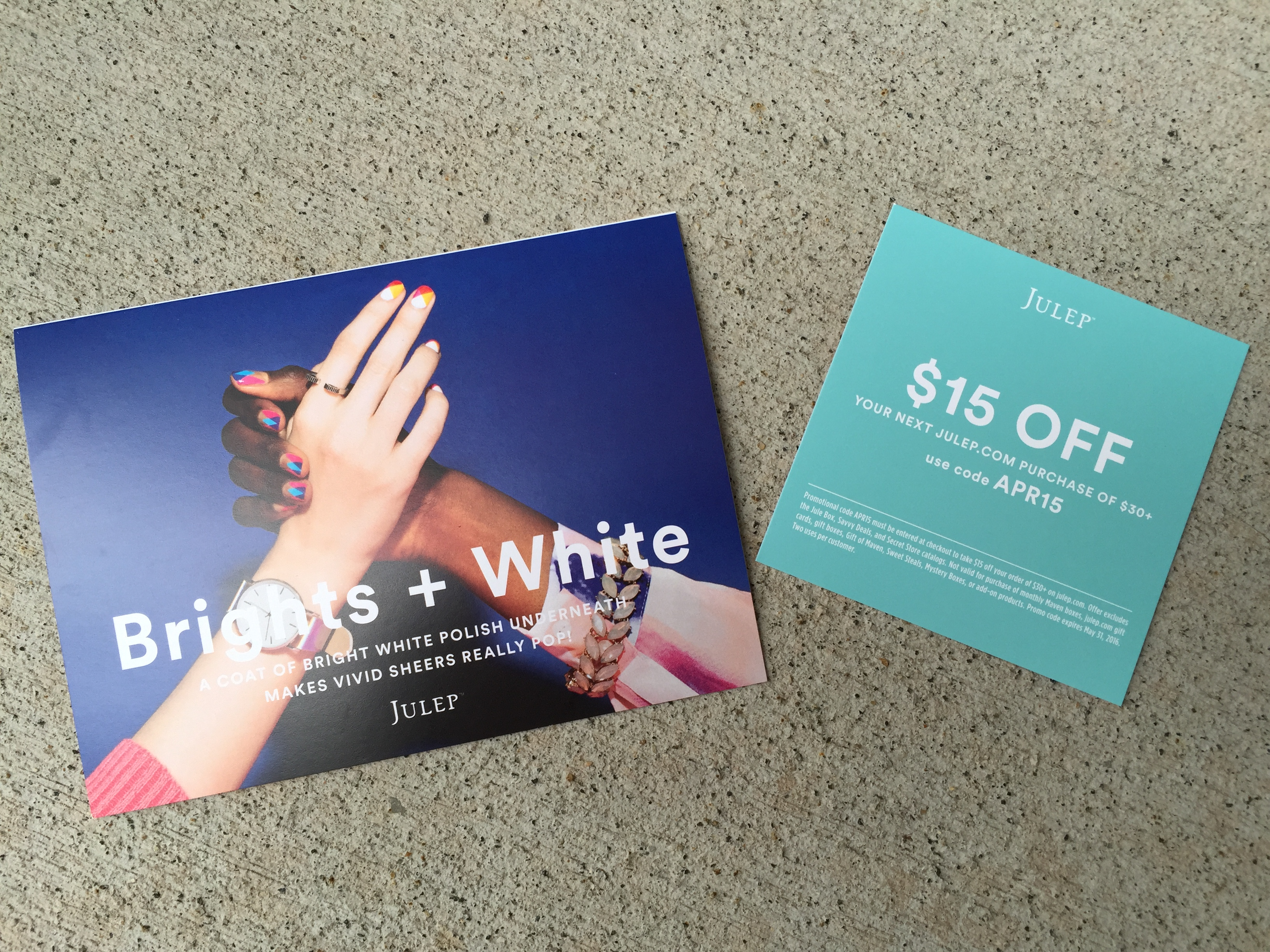 julep april 2016 collection card and discount offer card