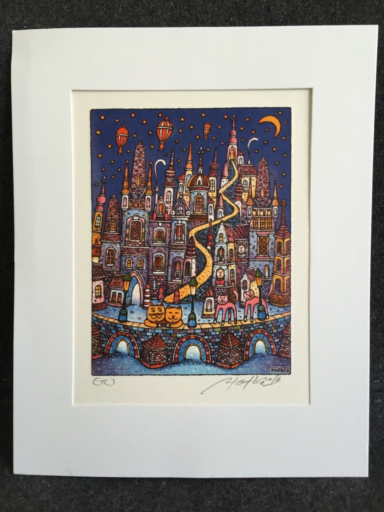 original artwork of prague with cats and hot air balloons at night