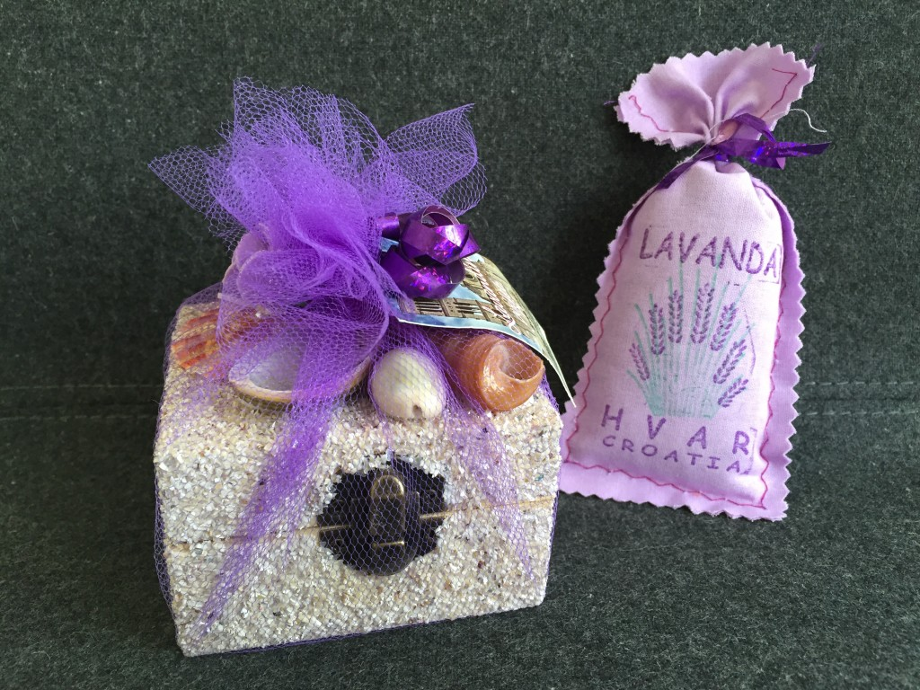 box of lavender buds and essential oil drops, plus bonus pouch of lavender buds from hvar in croatia