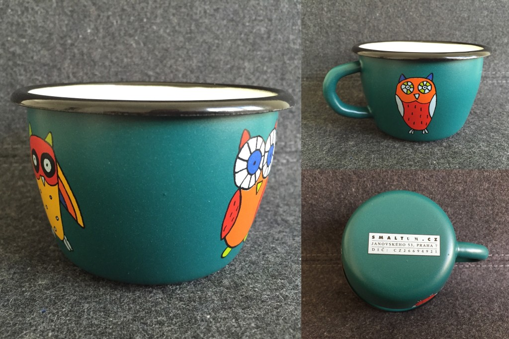 teal metal cup with owl designs