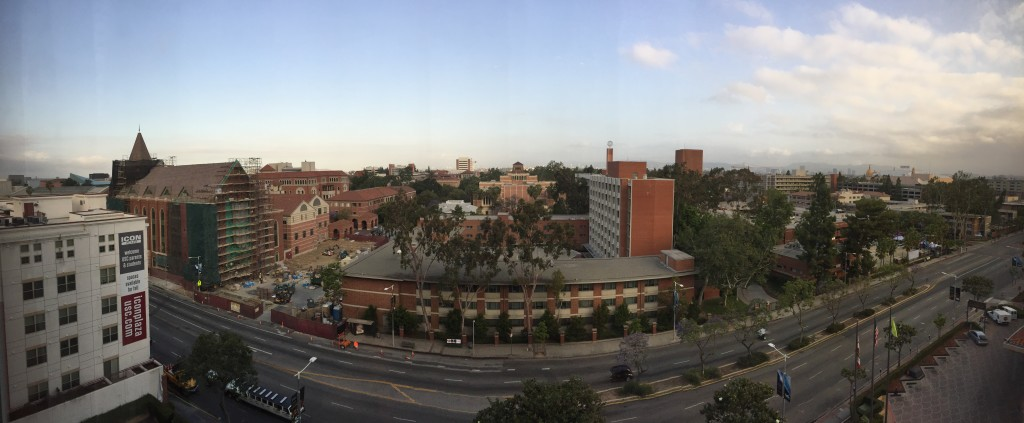 panoramic view of usc campus from radisson hotel midtown