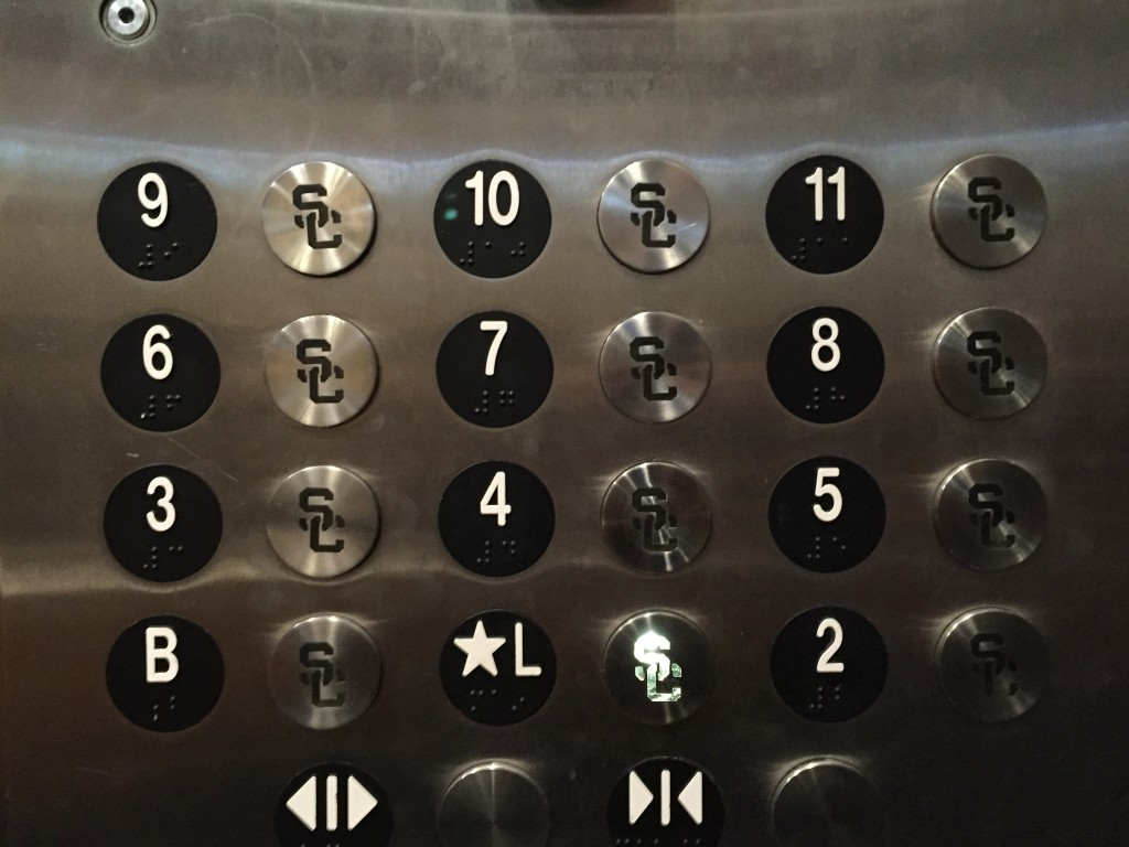 sc themed elevator buttons at radisson midtown hotel