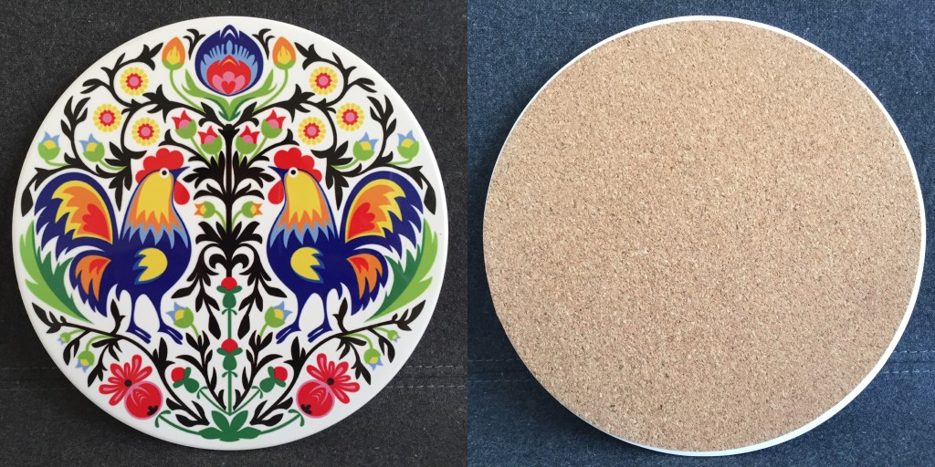 brightly-colored coaster with roosters and flowers