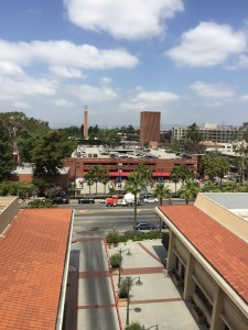 view of usc campus from 7th floor of parking garage