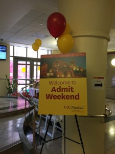 usc marshall admit weekend welcome sign