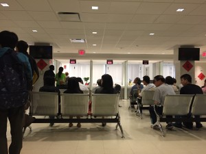 metal seats in waiting area at dc's chinese visa office