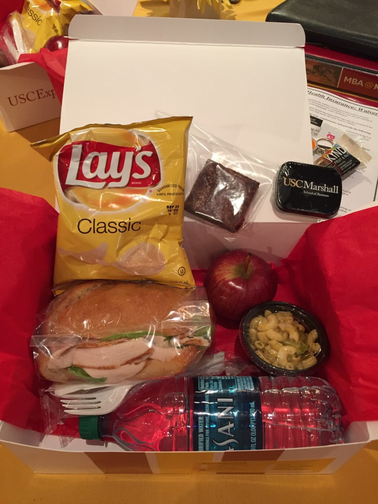 usc marshall mba box lunches provided by usc hospitality