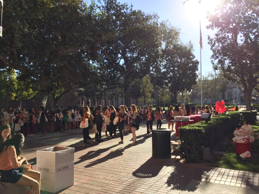 line of ladies getting breakfast before usc own it 2016 conference