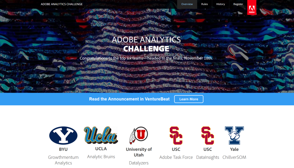 adobe analytics challenge XV homepage with six finalist teams