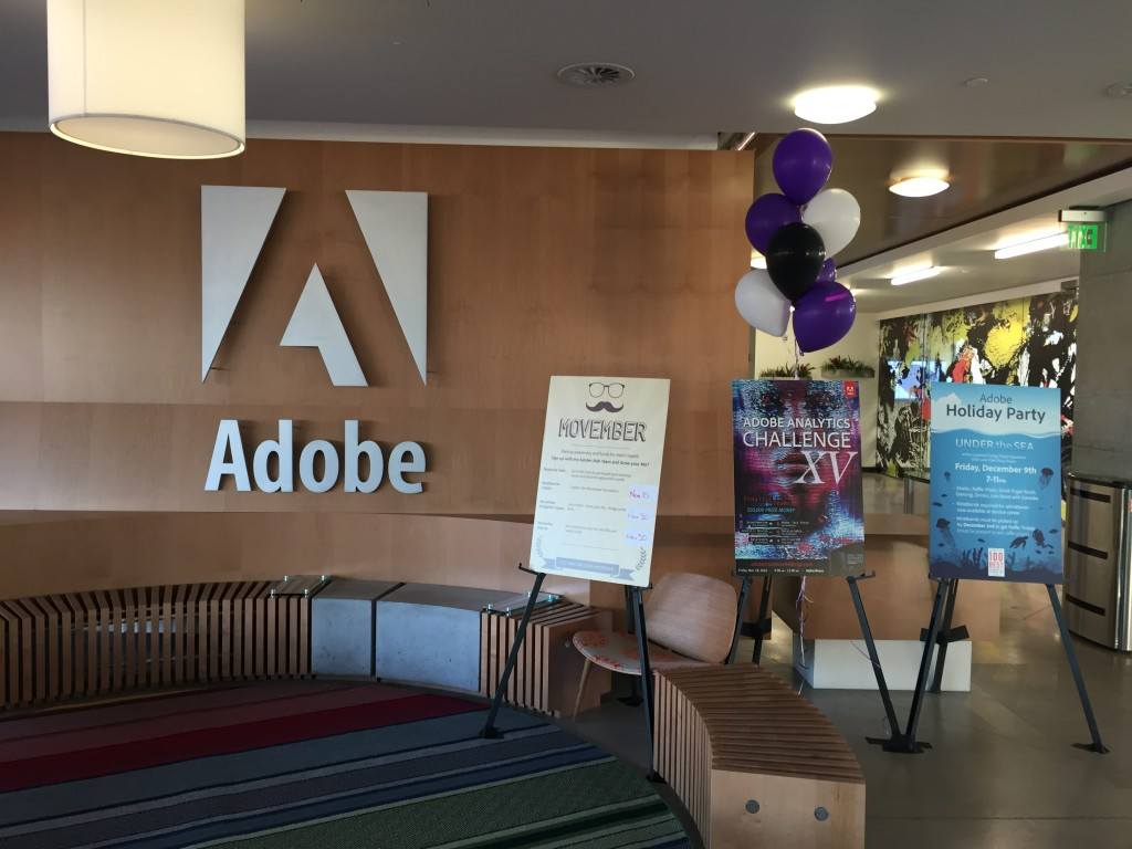adobe headquarters entrance with event signs