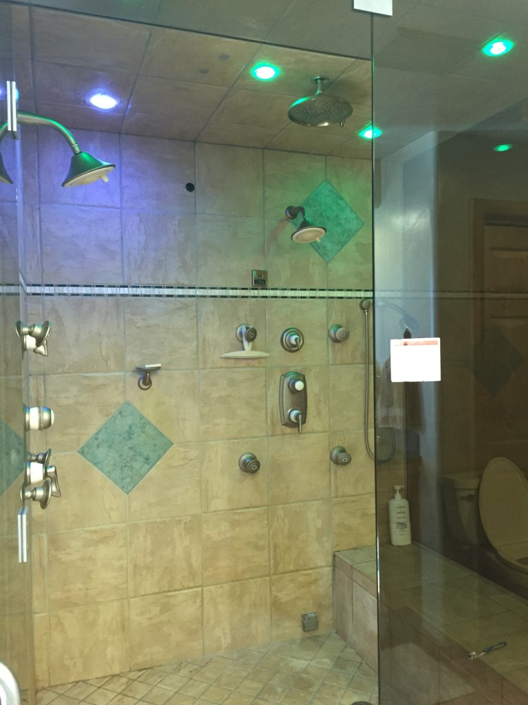 fancy shower with lights and steam room function