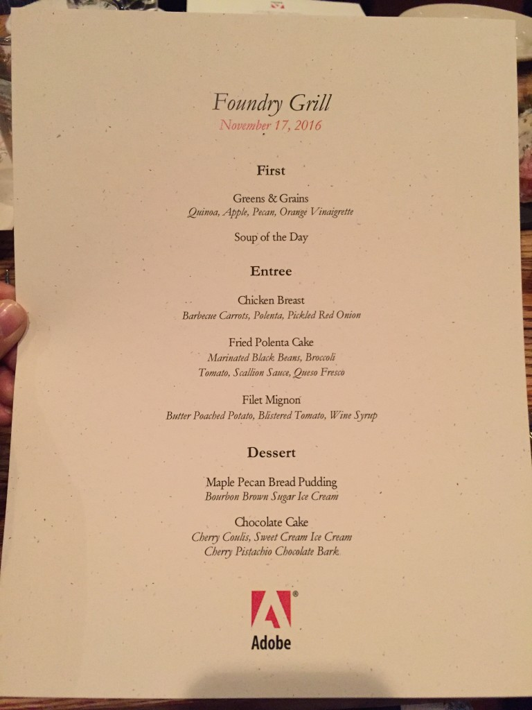 adobe dinner menu at foundry grill