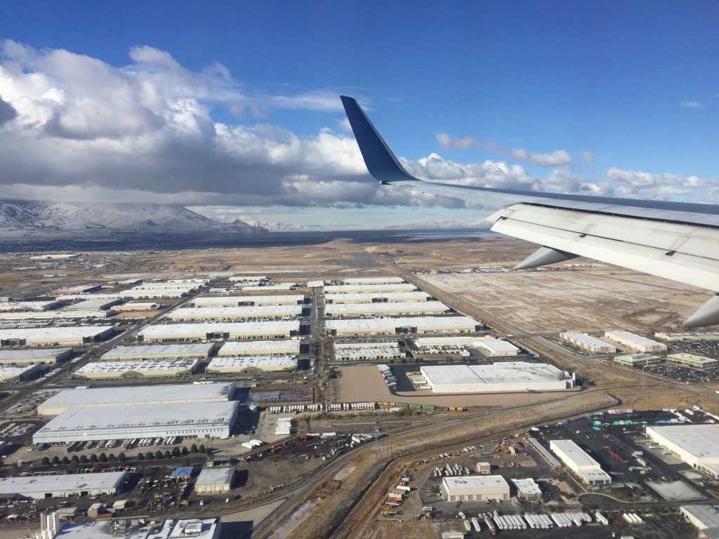 view outside plane window when landing at salt lake city airport