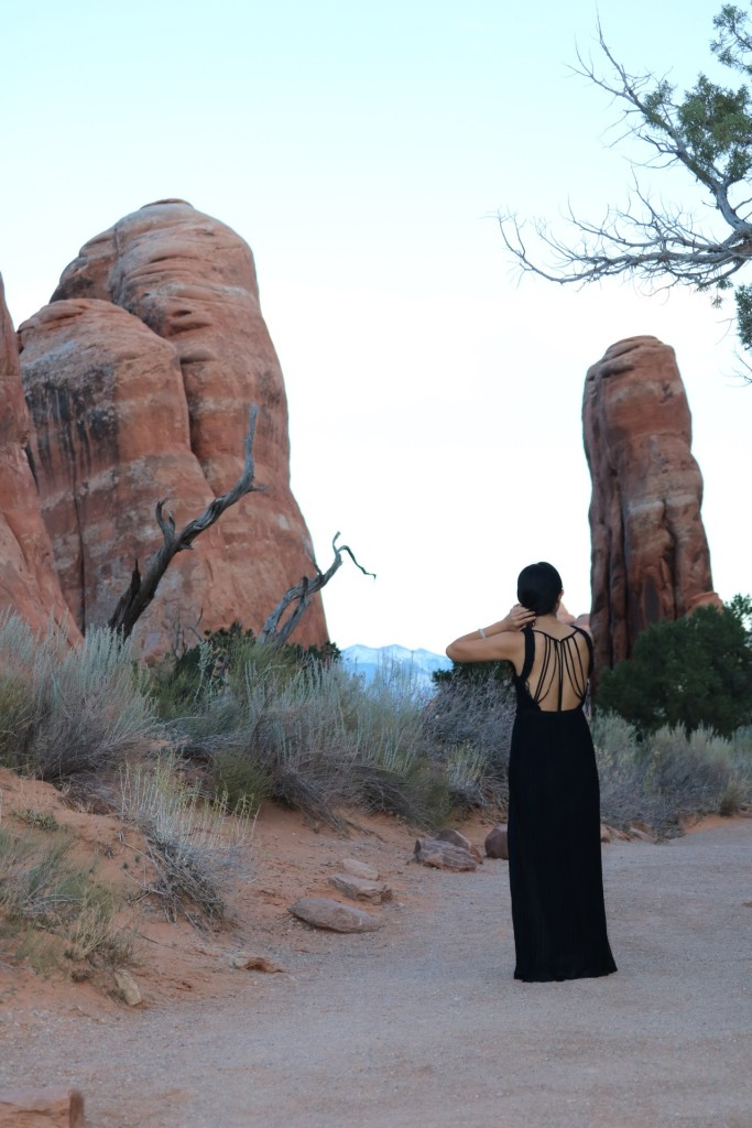 back view of dress at arches national park